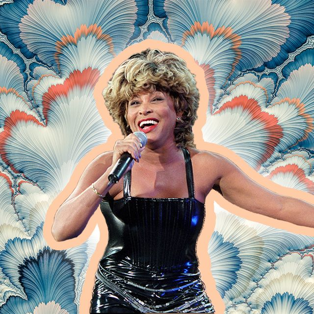 tina turner is posed against a background of flowers