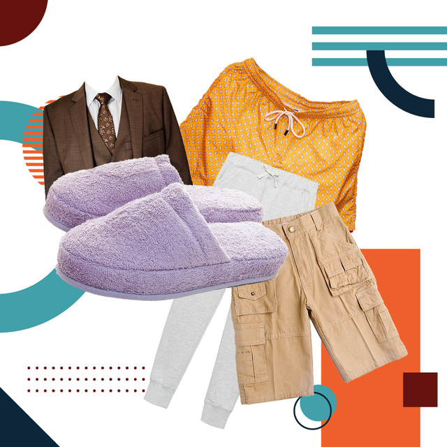 brown suit, orange boxers, slippers, khakis, white pants