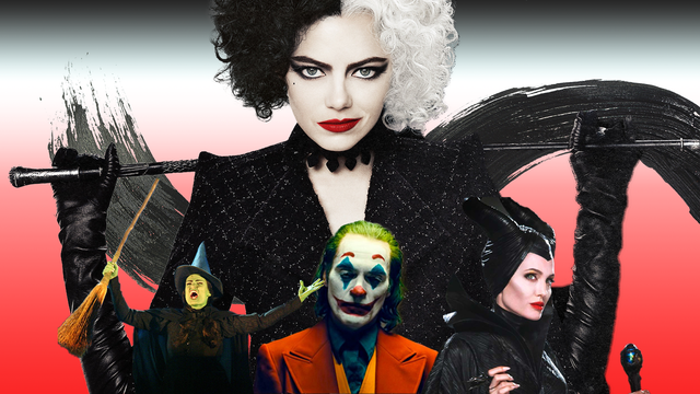 cruella de vil, the joker, maleficent, the wicked witch of the west