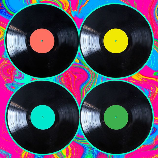 colorful records on a groovy background