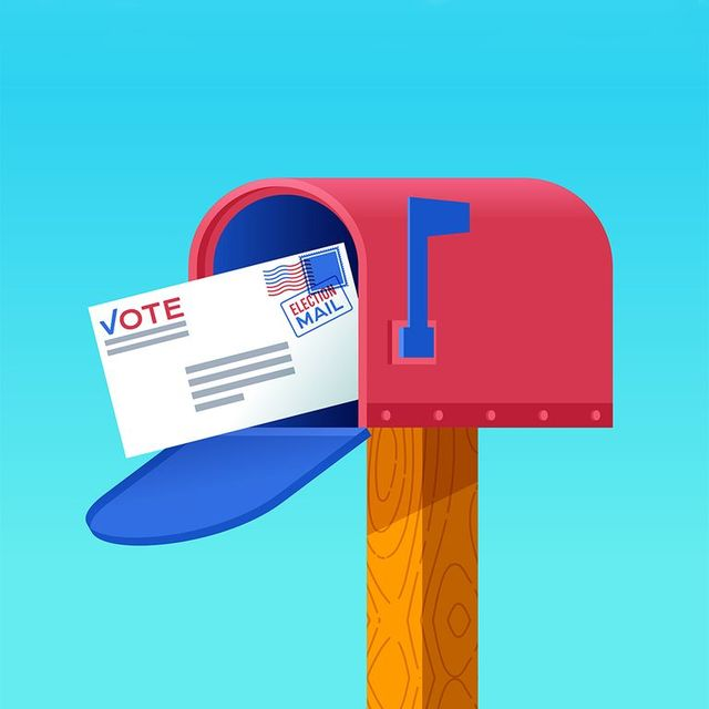 illustration of mailbox with mail in ballot