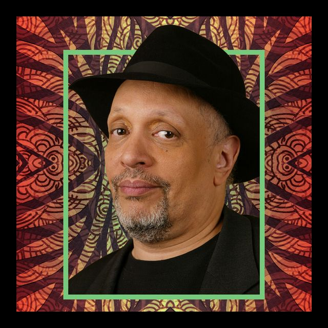 portrait of walter mosley against a colorful background