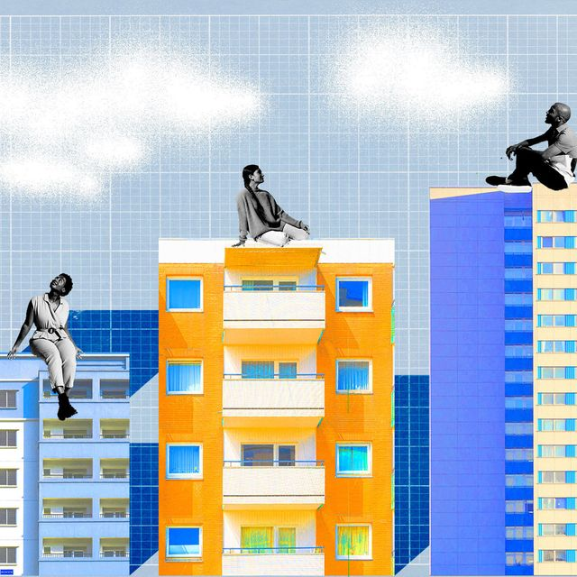 women and man sitting on top of buildings yellow and blue graph background