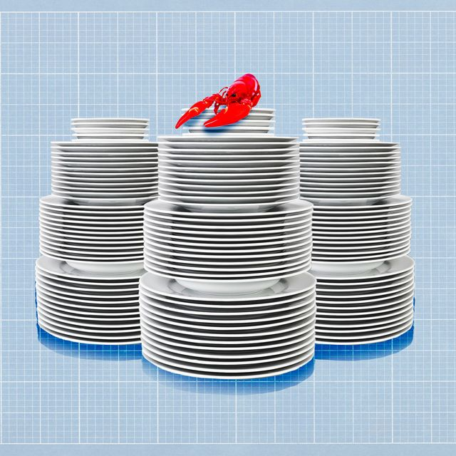 plates stacked on top of graph with red lobster