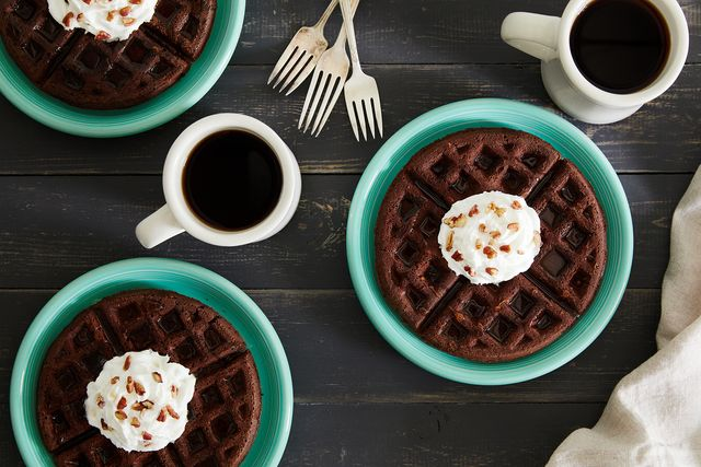 chocolate pecan waffles