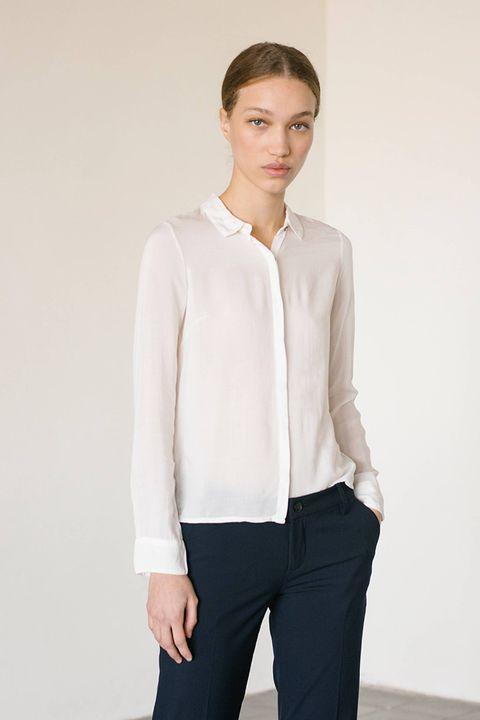 Clothing, White, Neck, Sleeve, Outerwear, Collar, Blouse, Top, Shirt, Fashion,