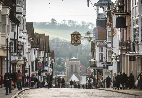 Shoppers on Guildford High Street
