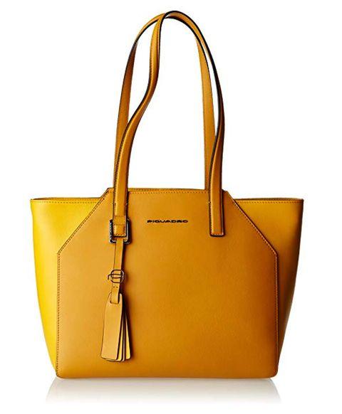 Handbag, Bag, Yellow, Fashion accessory, Leather, Shoulder bag, Tote bag, Orange, Material property, Font,