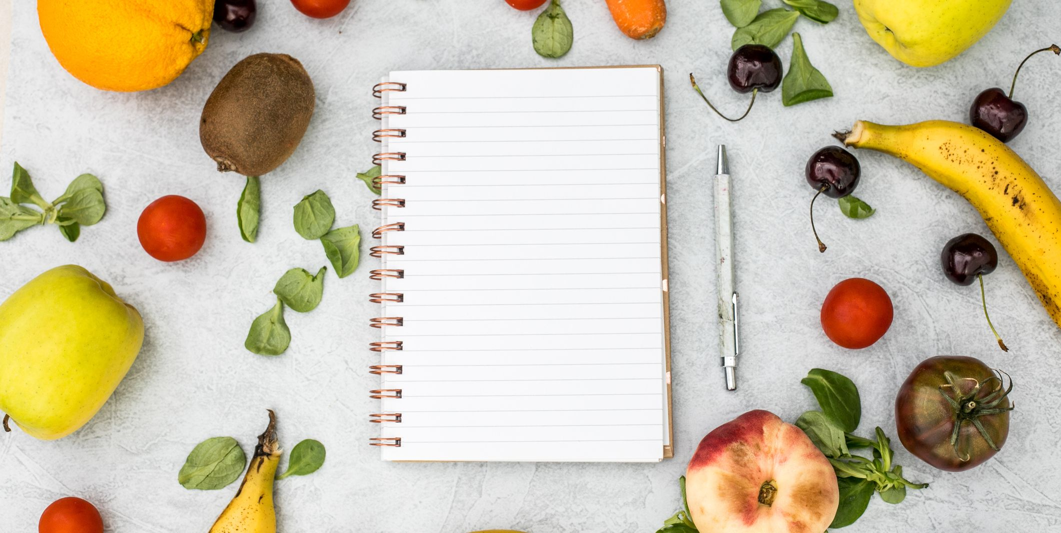 shopping list with vegetables and fruit notebook