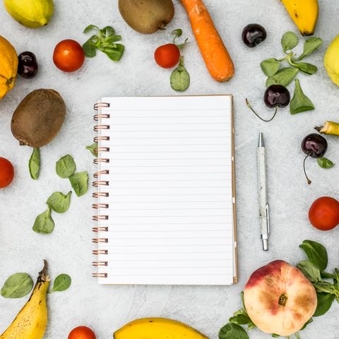 shopping list with vegetables and fruit