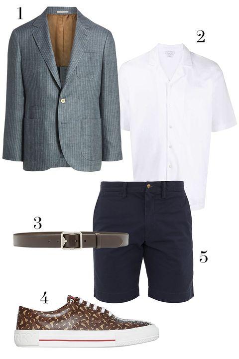 brunello cucinelli blazer, sunspel shortsleeve button up, prada belt, burberry sneaker, polo ralph lauren shorts