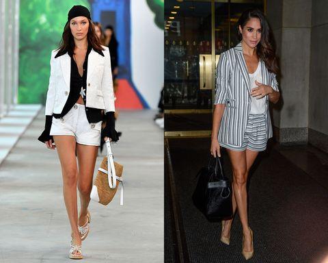 Fashion model, Clothing, White, Fashion, Street fashion, Blazer, Footwear, Shorts, Leg, Outerwear,
