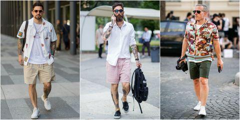Clothing, Street fashion, White, Fashion, Footwear, Shorts, Sunglasses, Pink, Shoe, Eyewear,