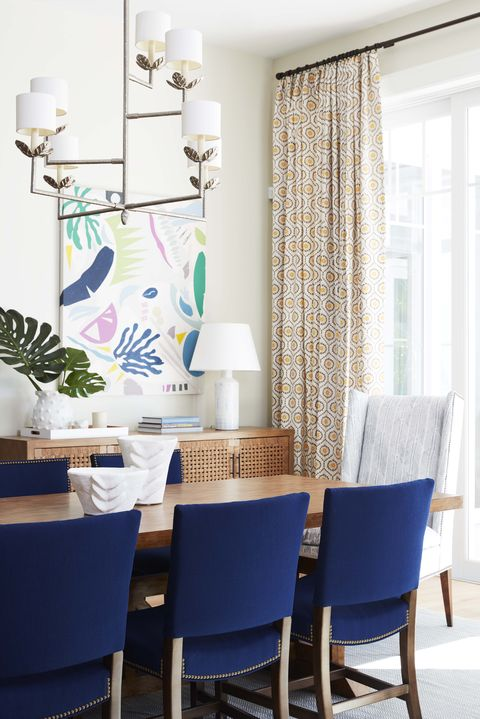 Dining room, Room, Blue, White, Furniture, Interior design, Property, Table, Home, Azure,