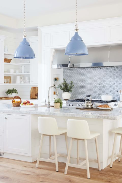 Furniture, White, Room, Kitchen, Blue, Countertop, Property, Interior design, Dining room, Table,