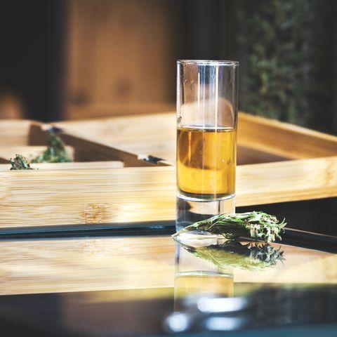 Shot of Cannabis Liquor on Table