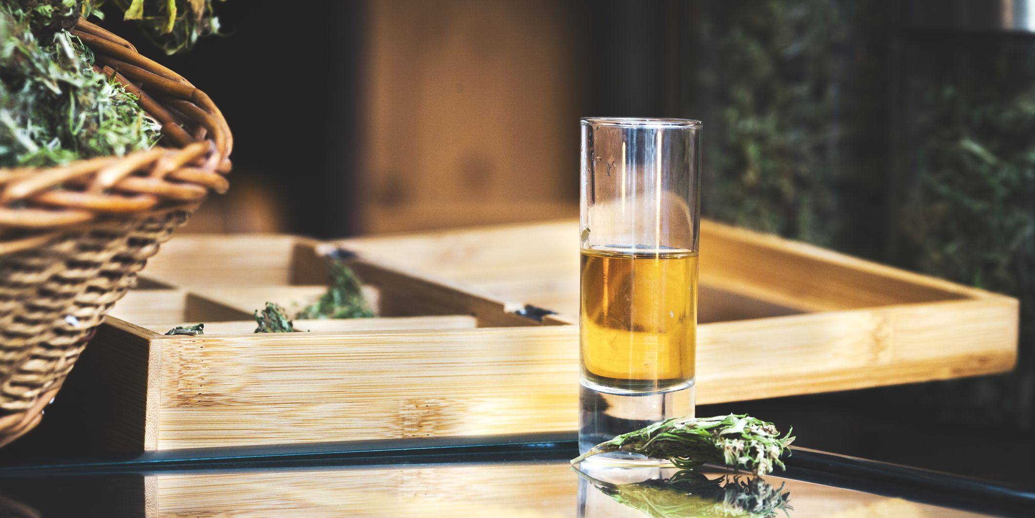 Shot of Cannabis Liquor on Table