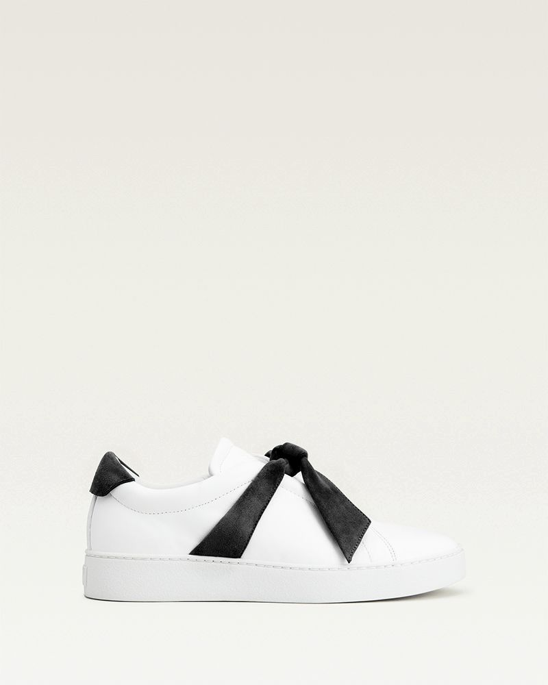 Clarita Leather Bow Sneakers