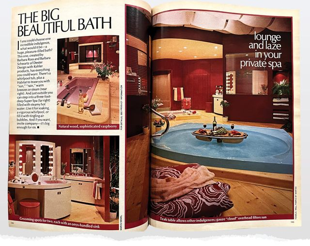 big bathroom with pink tub, blue jacuzzi, and two areas for grooming