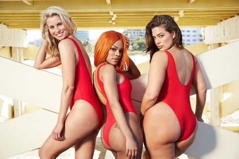 12fd9af41d006 Ashley Graham Models Red Baywatch Inspired Bathing Suit - Swimsuits ...