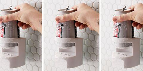 Tile, Product, Hand, Wall, Finger, Soap dispenser, Bathroom accessory, Interior design, Bathroom, Floor,