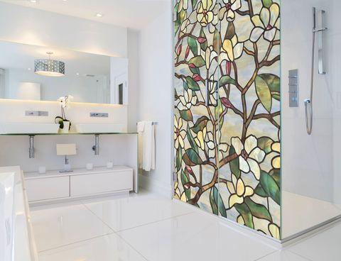 Glass Shower Door Look Super Artsy, Pictures Of Shower Stalls With Glass Doors
