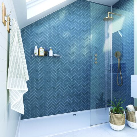 showerwall bathroom wall panelling in navy herringbone