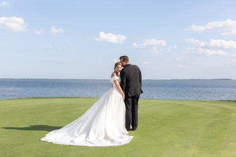 Photograph, Bride, Wedding dress, Gown, Wedding, Dress, Ceremony, Bridal clothing, Sky, Event,