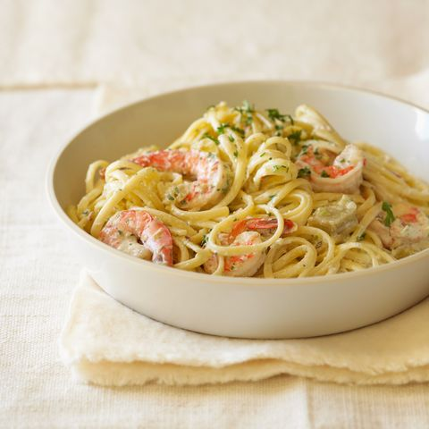 shrimp and artichoke linguine alfredo
