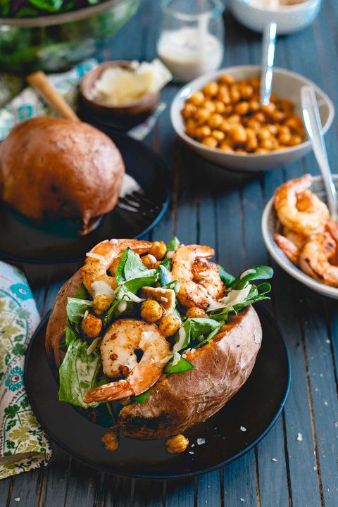 shrimp caesar salad stuffed sweet potatoes