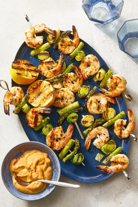 New Year's Eve Appetizers - Charred Shrimp, Leek, and Asparagus Skewers