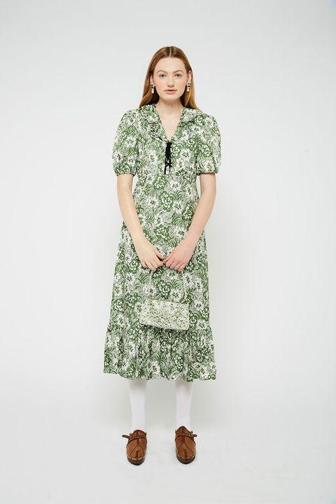 shrimps green white floral dress