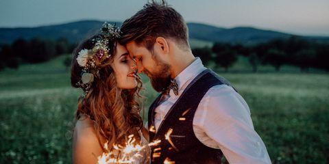 People in nature, Photograph, Romance, Love, Bride, Wedding, Ceremony, Happy, Yellow, Wedding dress,