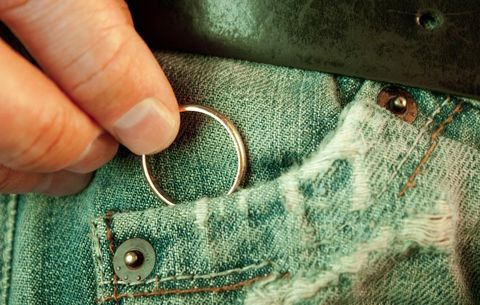 Putting wedding band in jean pocket