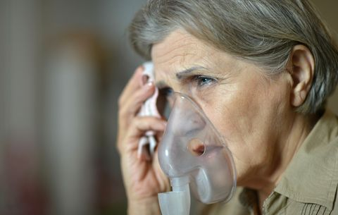 Breathing with oxygen mask