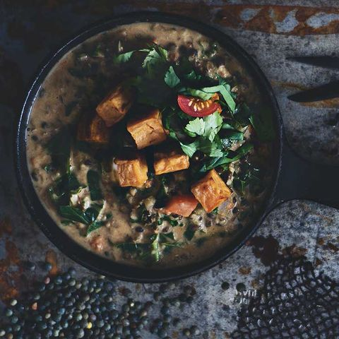 lentils and sweet potatoes