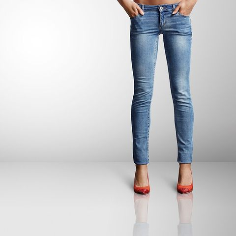 Wearing tight jeans