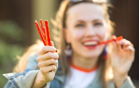 woman eating licorice