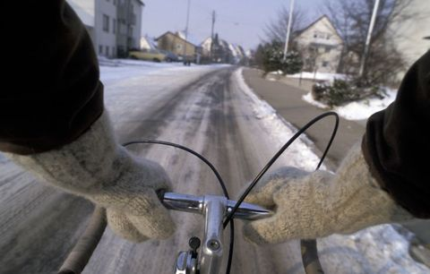 riding bike in snow