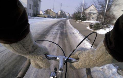 riding bike in snow
