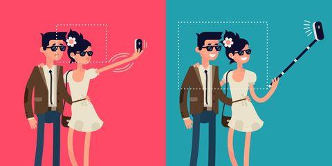 Couple taking selfies