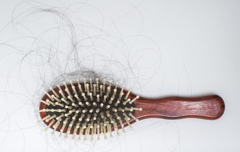 Loose hair caught in hairbrush