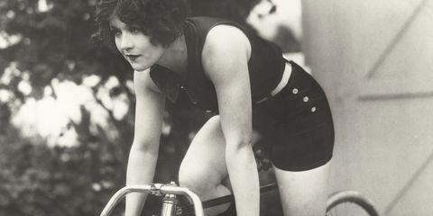 retro woman cycling