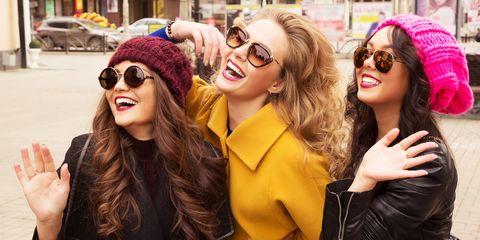 Eyewear, People, Street fashion, Yellow, Pink, Sunglasses, Fashion, Glasses, Beauty, Fun,