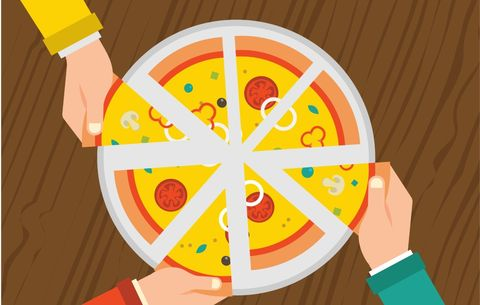 Hands grabbing slices of pizza