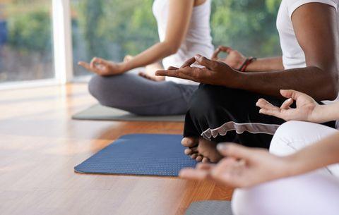 Meditation in yoga class