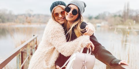 Photograph, Fur, Street fashion, Fashion, Photography, Happy, Smile, Outerwear, Eyewear, Headgear,