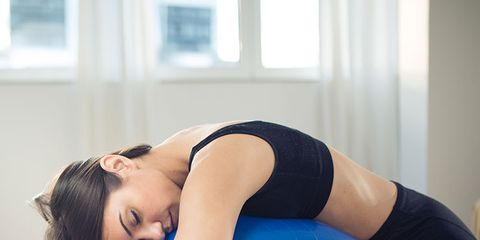 Sleeping on exercise ball