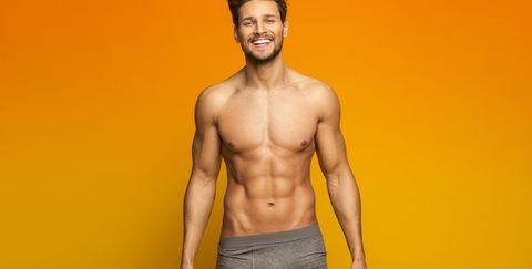 Barechested, Underpants, Briefs, Yellow, Muscle, Clothing, Model, Undergarment, Abdomen, Chest,