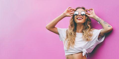 Pink, Eyewear, Clothing, Beauty, Stomach, Blond, Photo shoot, Fashion model, Fashion, Cool,